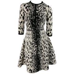 Lanvin Beige and Black Cheetah Wool Blend Stretch Knit Flare Skirt Dress Size M