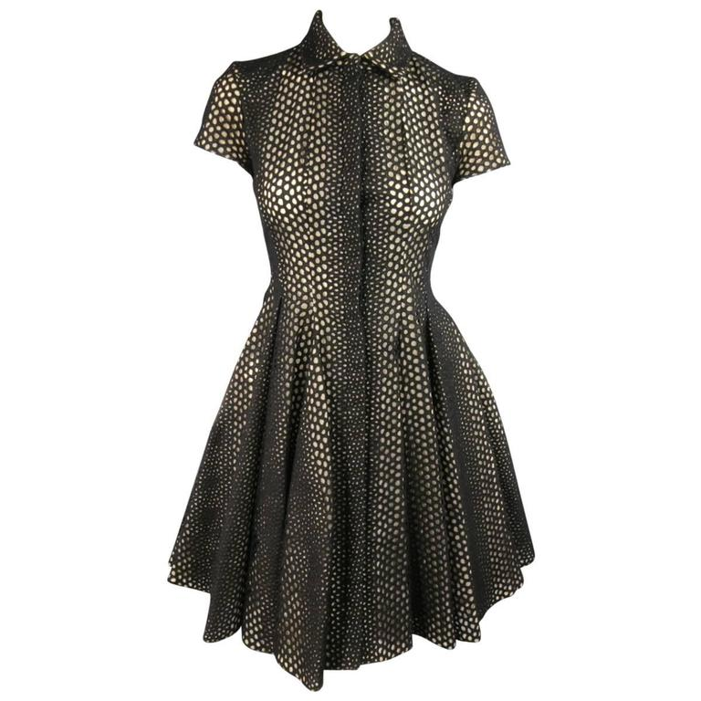GIAMBATTISTA VALLI Size 4 Black Lace Short Sleeve Flared Skirt Shirt Dress 1