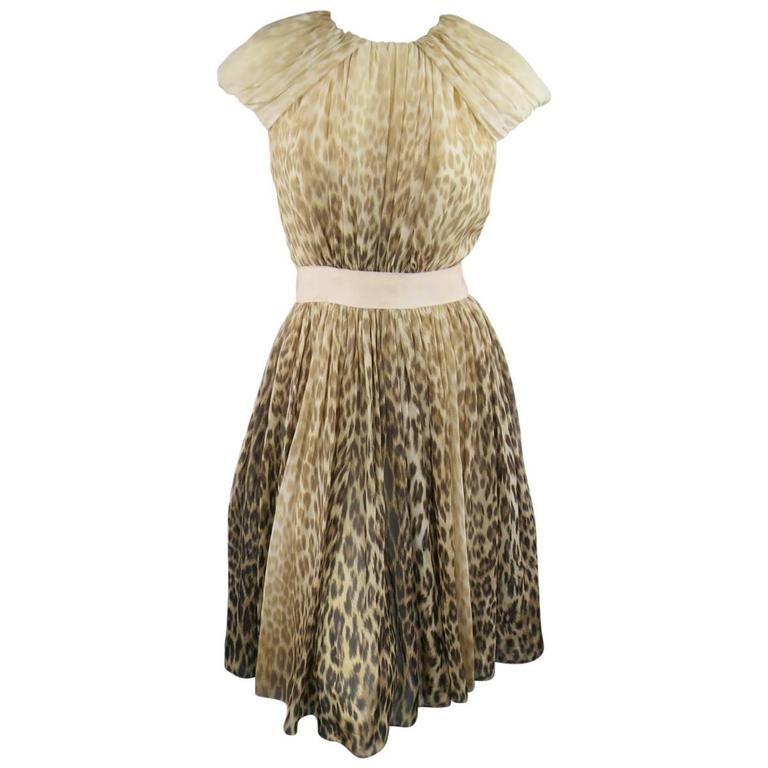 Giambattista Valli Couture Beige and Brown Leopard Draped Silk Dress For Sale