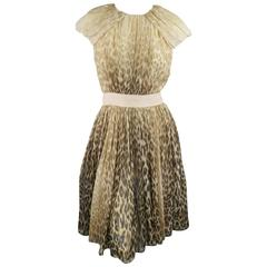GIAMBATTISTA VALLI COUTURE Size 6 Beige & Brown Leopard Draped Silk Dress