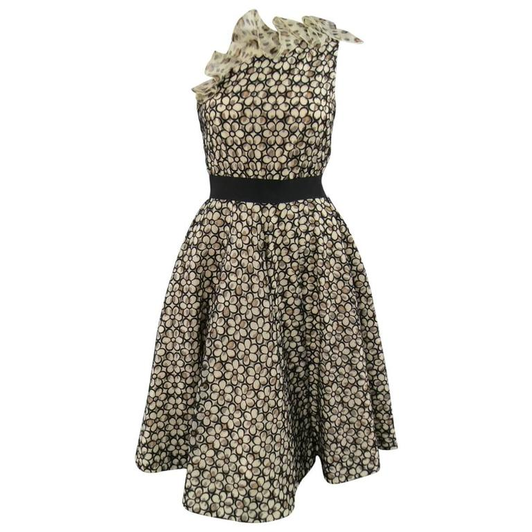 GIAMBATTISTA VALLI 6 Beige & Black Leopard Floral Lace Ruffle One Shoulder Dress
