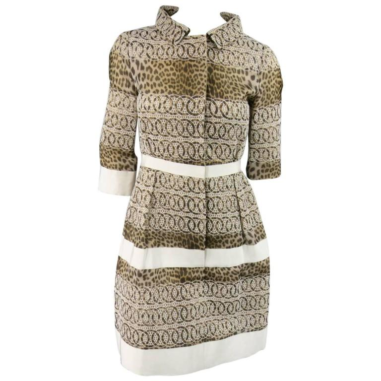 Giambattista Valli Size 6 Beige Brown Leopard Embroidered Lace Silk Coat Dress For Sale
