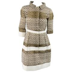 GIAMBATTISTA VALLI Size 6 Beige & Brown Leopard Embroidered Lace Silk Coat Dress