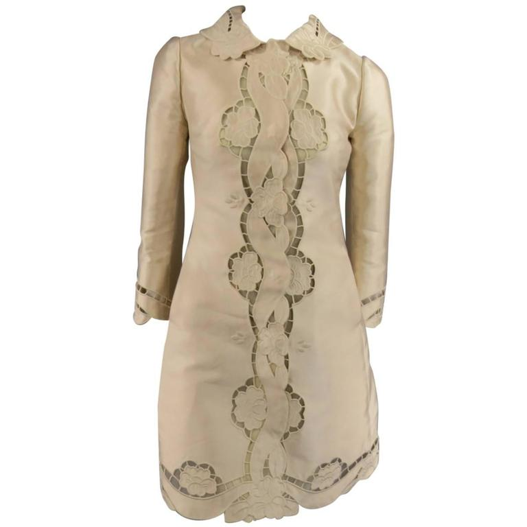 DOLCE & GABBANA Size 6 Blush Silk Satin Floral Lace Custom Coat Dress