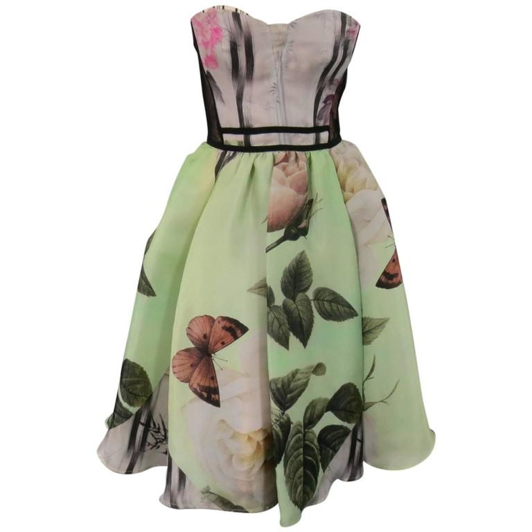 ANTONIO MARRAS Size 2 Green Butterfly Print Bustier Cocktail Dress 1