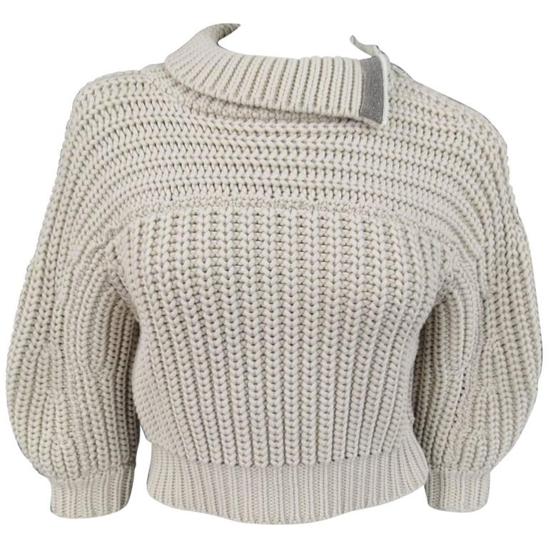 BRUNELLO CUCINELLI Size M Beige Chunky Knit Cropped Sparkle Zip Shoulder Sweater 1
