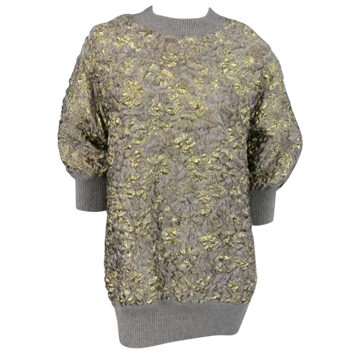 Dolce And Gabbana Size 2 Grey Gold Metallic Floral