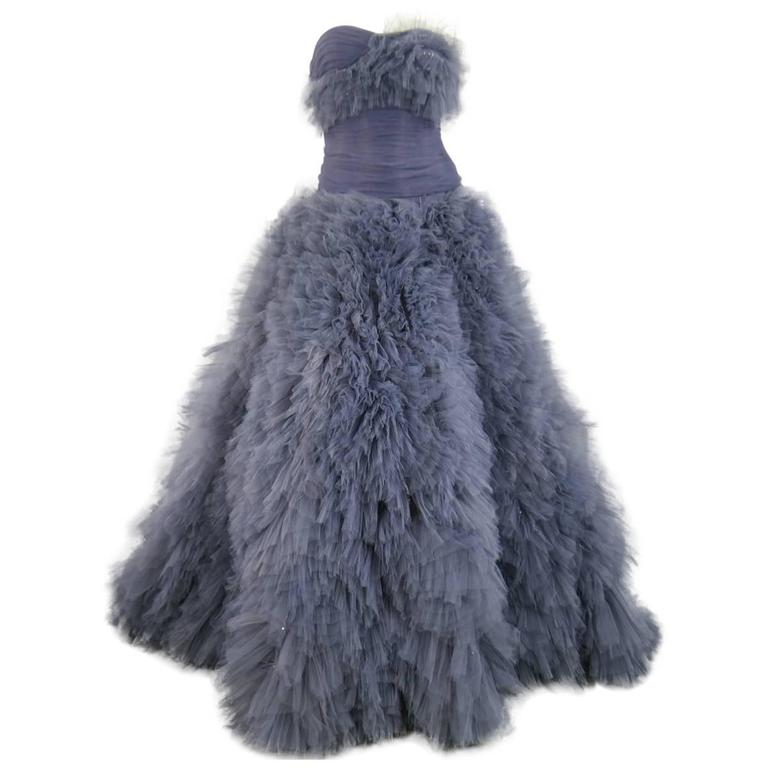 MARCHESA Size 4 Gray Blue Beaded Ruffle Tulle Strapless Bustier Evening Gown 1
