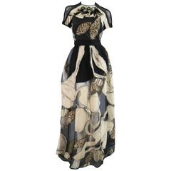 ANTONIO MARRAS Size 4 Black & Beige Painted Floral Mesh Tulle Evening Gown