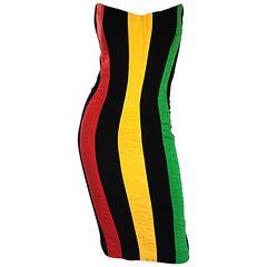 Bob Mackie Vintage Green + Yellow + Red + Black Size 12 Amazing Strapless Dress