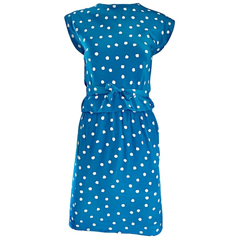 Vintage Oscar de la Renta Bright Blue and White Polka Dot Dress Ensemble Size 4 For Sale