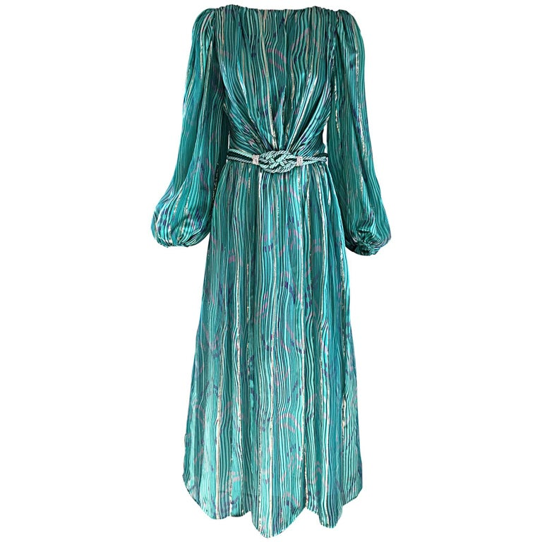 1970s Diane Dickinson Vintage Green + Gold Silk Rhinestone Belted Gown / Dress For Sale