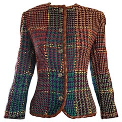 1990s Emanuel Ungaro Size 8 10 Leather Trim Colorful Herringbone Blazer Jacket
