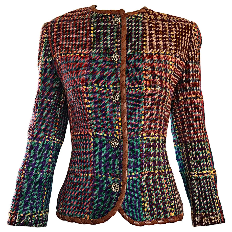 1990s Emanuel Ungaro Size 8 10 Leather Trim Colorful Herringbone Blazer Jacket