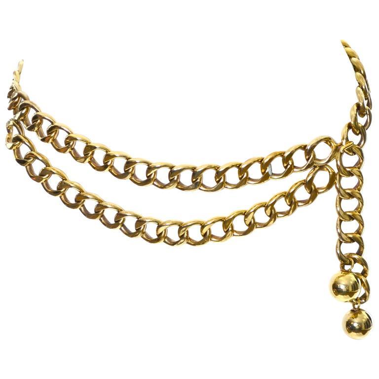 Chanel Rare Vintage Belt Gold Balls Original Box Made in France Adjustable Fit For Sale