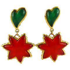 Christian Lacroix Vintage Multicolored Heart and Sun Dangling Earrings