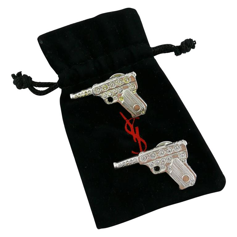 973bf837fb8 Yves Saint Laurent YSL Vintage Pair of Gun Brooches For Sale at 1stdibs