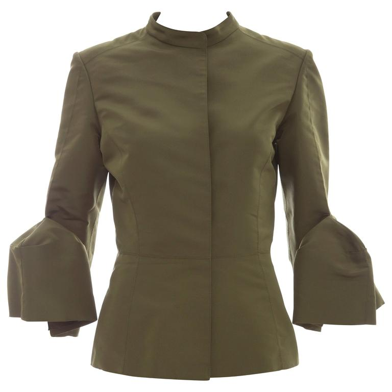 Oscar de la Renta Olive Green Silk Faille Jacket, Spring - Summer 2008