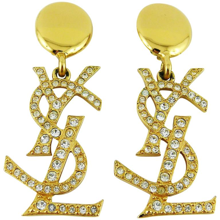 Yves Saint Lau Ysl Vintage Rare Mive Diamante Logo Dangling Earrings For