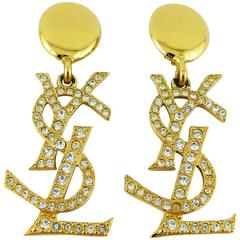 Yves Saint Laurent YSL Vintage Rare Massive Diamante Logo Dangling Earrings