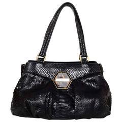 Oscar de la Renta Black Python Shoulder Bag
