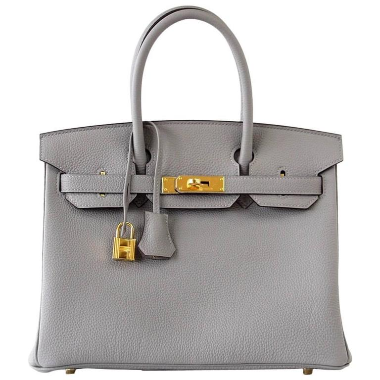 3a32b33d5fb6 Hermes Birkin 30 Bag Gris Mouette Togo Gold Hardware at 1stdibs