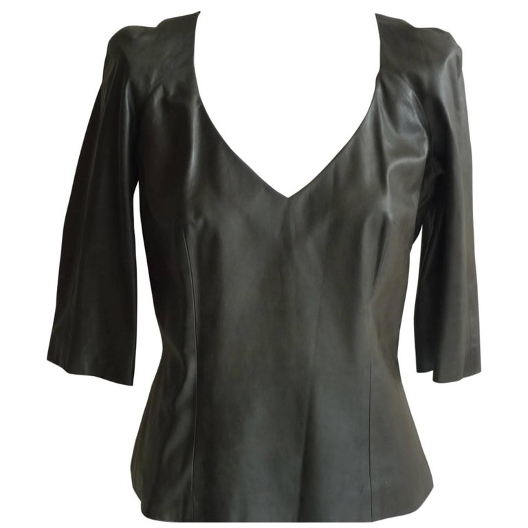 Olivier Theyskens Olive Green Leather Top