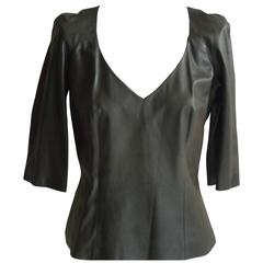 Olivier Theyskens Olive Green Leather Top (44 Itl)