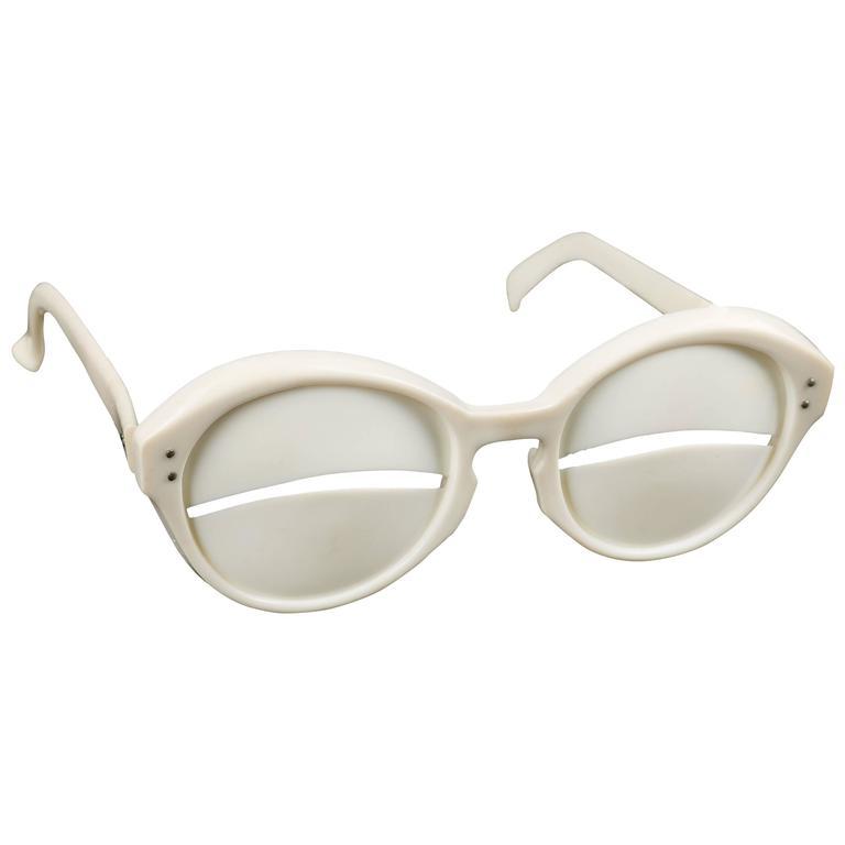 "ANDRE COURREGES S/S 1965 Iconic ""Lunettes Eskimo"" Ivory Plastic Slit Sunglasses"