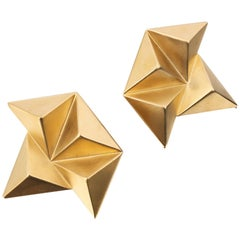 GIVENCHY c.1980's Gold Geometric Rockstud 3D Pyramid Statement Clip Earrings