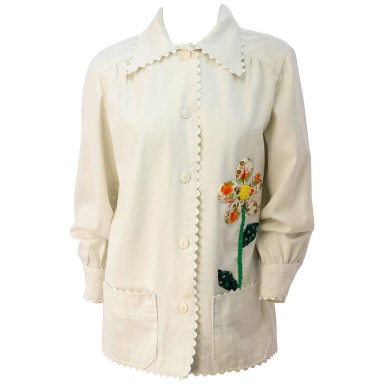60s Handmade Flower Patchwork Shirt