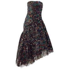 80s Saks Fifth Ave Strapless Black Tulle and Sequin Party Gown