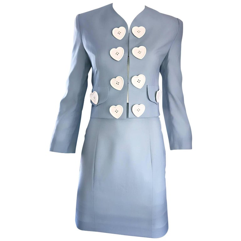 Vintage Moschino Cheap & Chic Pale Blue 1990s Heart Buttons Novelty Skirt Suit For Sale