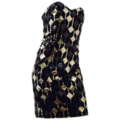 80s Black Velvet Diamond Sequin Strapless Mini Dress