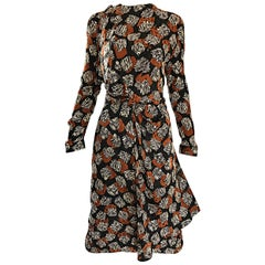 Chic Vintage Escada by Margaretha Ley 1990s Brown Black Zebra Print Silk Dress