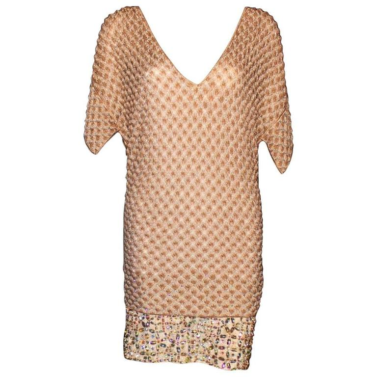 Missoni Gold Metallic Crochet Knit Beaded Crystal Dress For Sale