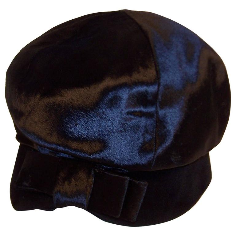 Mod 1960's Mr. John Jr. Black Faux Fur & Velvet Hat With Bow For Sale