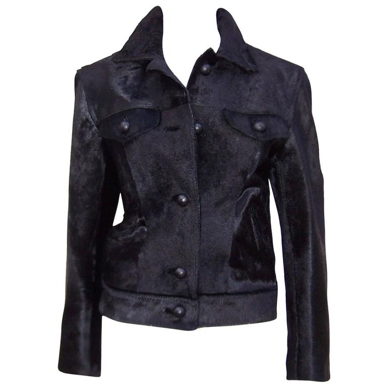 Fierce 1990's Gianni Versace Black Pony Hair Denim Style Jacket  1