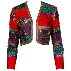 Vintage Metallic Sequin + Beaded Colorful Silk Bolero Jacket