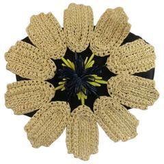 DELPOZO Size 4 Black Beige & Yellow Navy Oversized Straw Flower Bustier