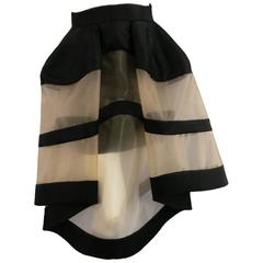 DELPOZO Size 4 Black & Tan Mesh Exreme Exaggerated Structured Skirt
