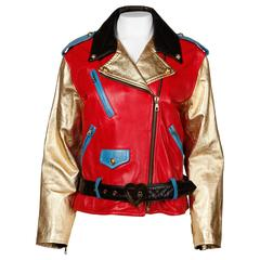 1990s Moschino Leather Vintage Metallic Gold Color Block Motorcycle Jacket