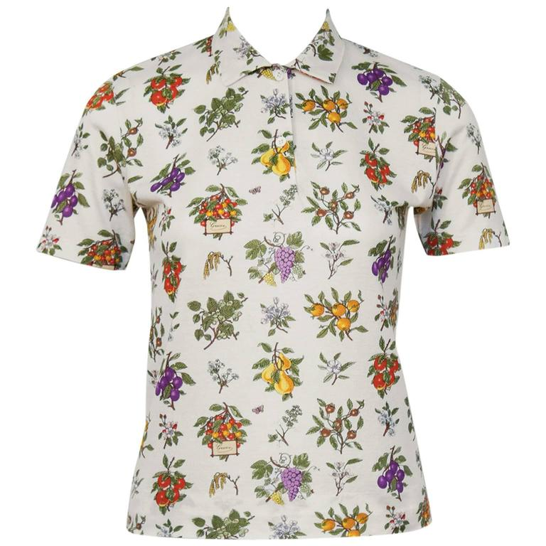 1970's Gucci Floral Polo Top For Sale