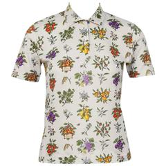1970's Gucci Floral Polo Top