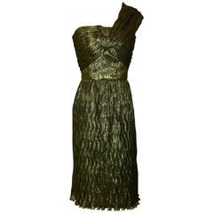 Oscar de la Renta Metallic Gold Crinkle One Shoulder Cocktail Dress