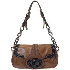 Prada Brown and Black Leather Handbag
