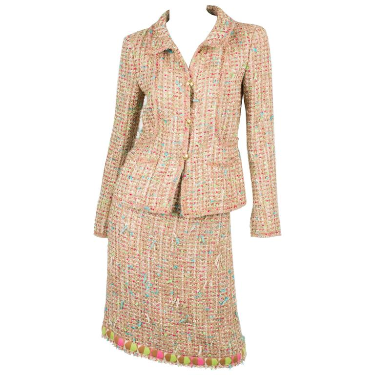 Chanel Suit 2-pcs Jacket & Skirt - beige/blue/pink/green