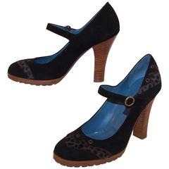 Wild & Woolly Marc Jacobs Black Suede Mary Jane Shoes With Animal Print Trim