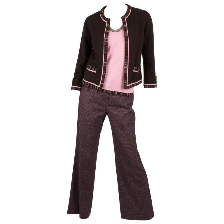 Chanel Cardigan/Top/Pants 3-pcs Suit - brown/pink