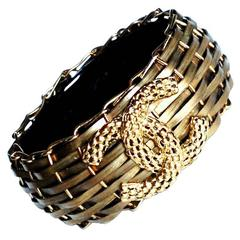 BRAND NEW RARE Chanel ✿*゚ BRONZE Metal BAMBOO BASKET Resin Bangle Cuff Bracelet